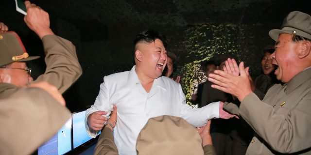 "This undated picture released from North Korea's official Korean Central News Agency (KCNA) on August 25, 2016 shows North Korean leader Kim Jong-Un (C) laughing as he inspects a test-fire of strategic submarine-launched ballistic missile at an undisclosed location. / AFP PHOTO / KCNA / KNS / South Korea OUT / REPUBLIC OF KOREA OUT  / SOUTH KOREA OUT ---EDITORS NOTE--- RESTRICTED TO EDITORIAL USE - MANDATORY CREDIT ""AFP PHOTO/KCNA VIA KNS"" - NO MARKETING NO ADVERTISING CAMPAIGNS - DISTRIBUTED AS A SERVICE TO CLIENTS